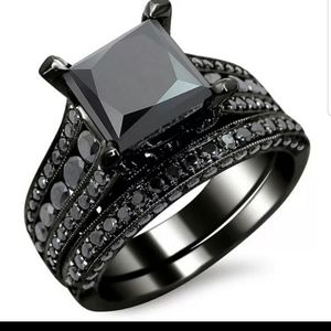 *NEW💍 18K BLACK SAPPHIRE STERLING SILVER RING💎